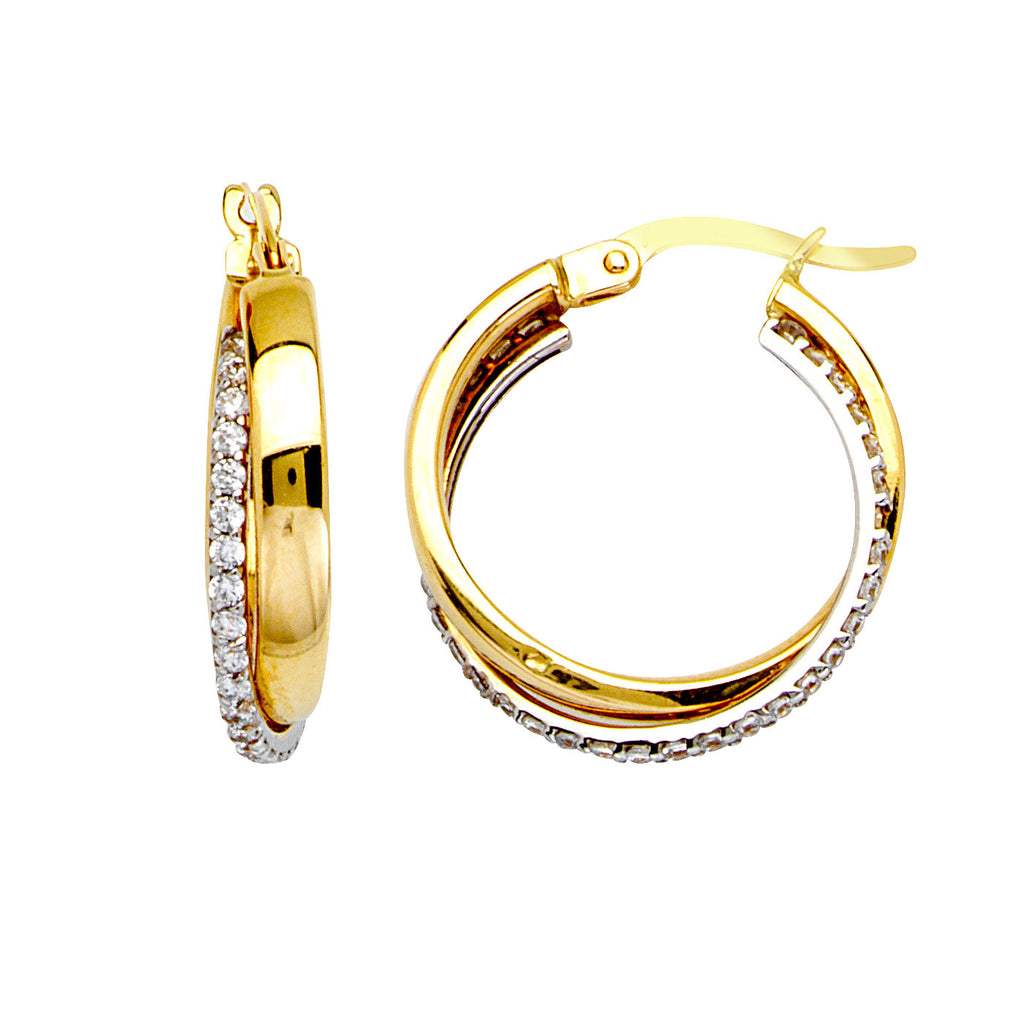 14k Two-tone White and Yellow Gold Hoop Earrings with Cubic Zirconia