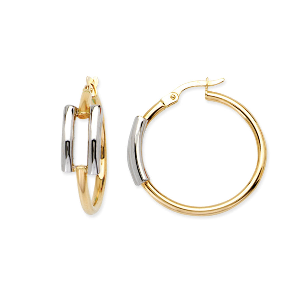 14k Two Tone Gold Round Hoop Earrings with Post 25mm