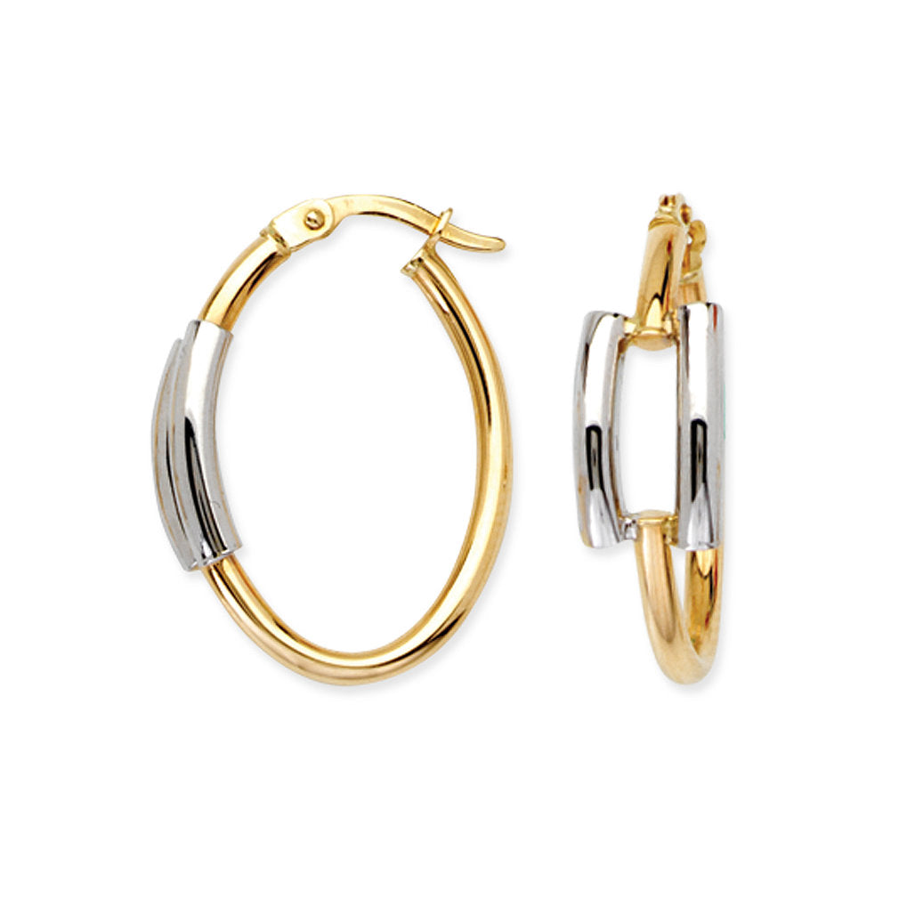 14k Two Tone Gold Oval Hoop Earrings with Post 25mm