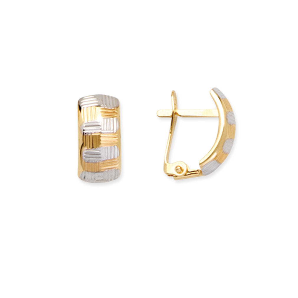 14k Yellow and White Gold Two-tone Checkerboard Huggie Hoop Earrings