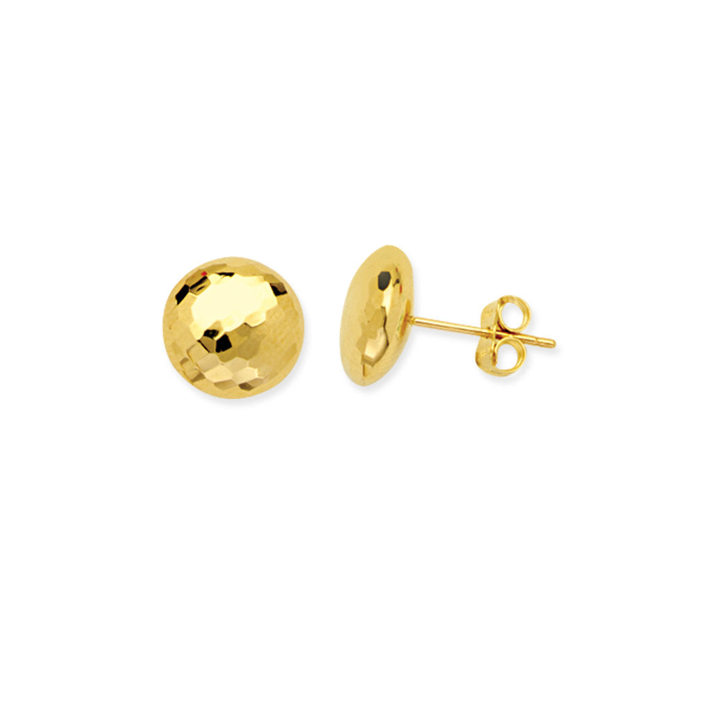 14k Yellow Gold Flat Bead Button Stud Earrings Mirror Disco Diamond-cut Texture