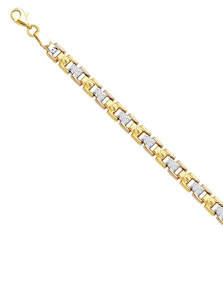 14k White and Yellow Gold  Stampato Style Bracelet with Diamond-cut Links