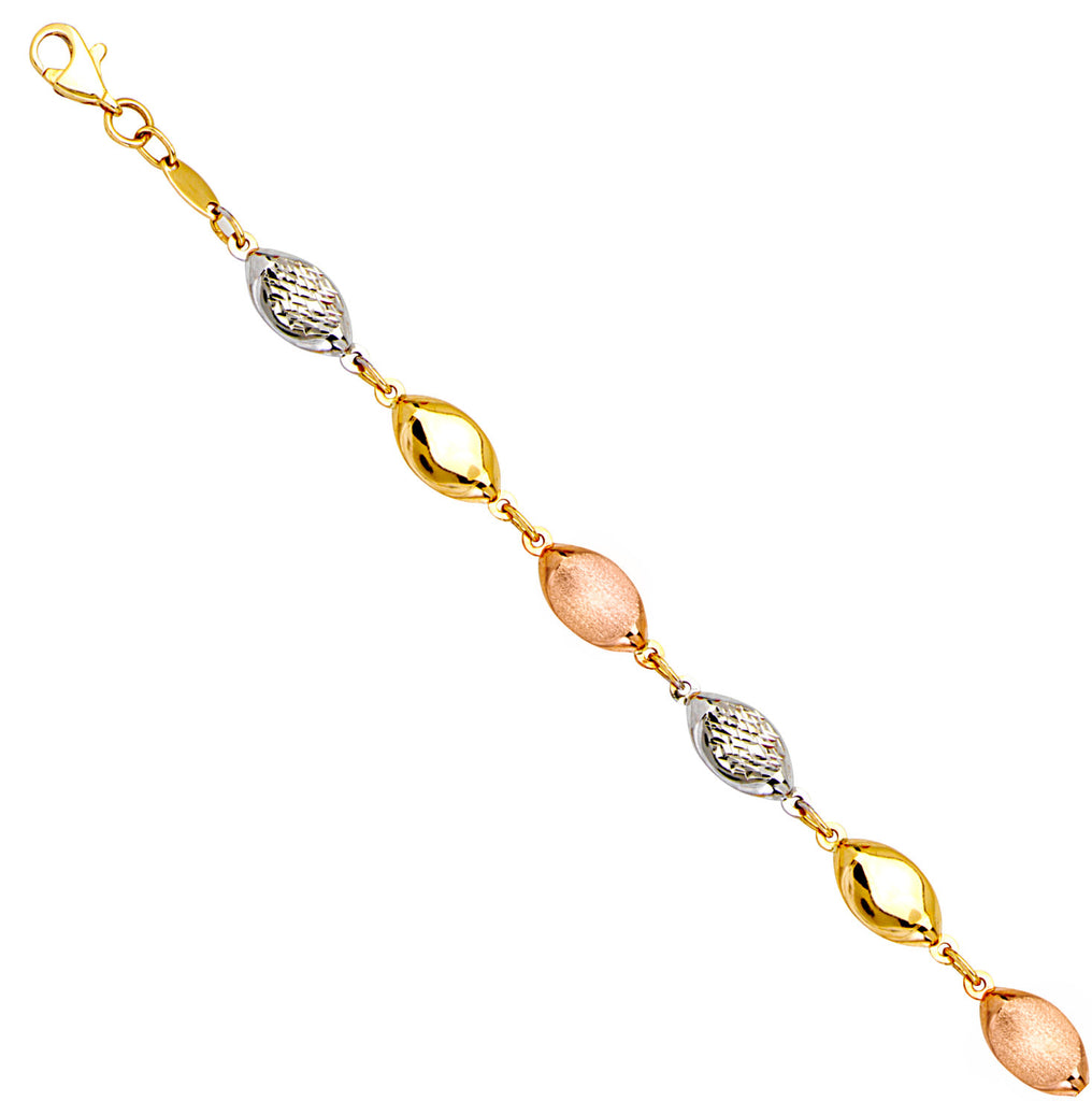 14k Tri-color Rose, Yellow and White Gold Chain Bracelet with Puffed Bead Links