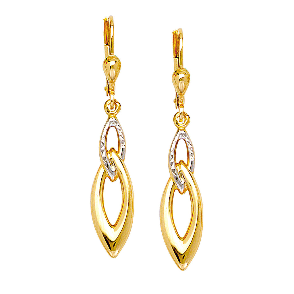 Two-tone White and Yellow 10k Gold Earrings Double Marquise Drop Diamond-cut
