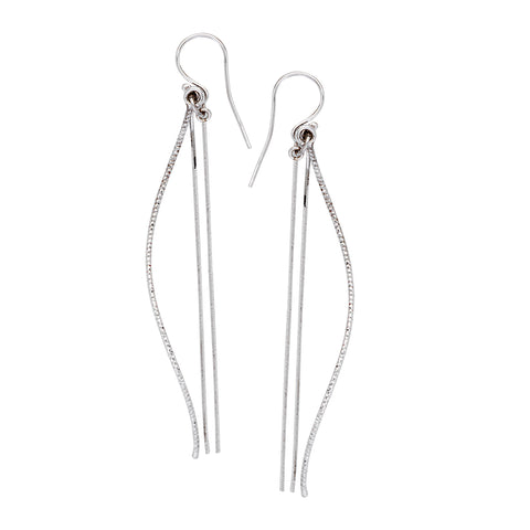 Curved and Straight Three Dangle Drop Earrings Rhodium on Sterling Silver