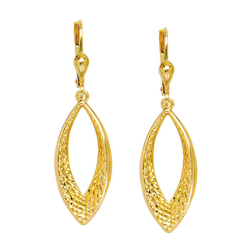 10k Yellow Gold Earrings Marquise Shape