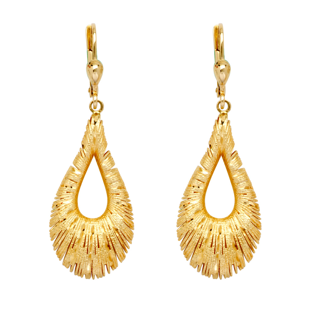 10k Yellow Gold Earrings Teardrop Puffy Sparkle Cut
