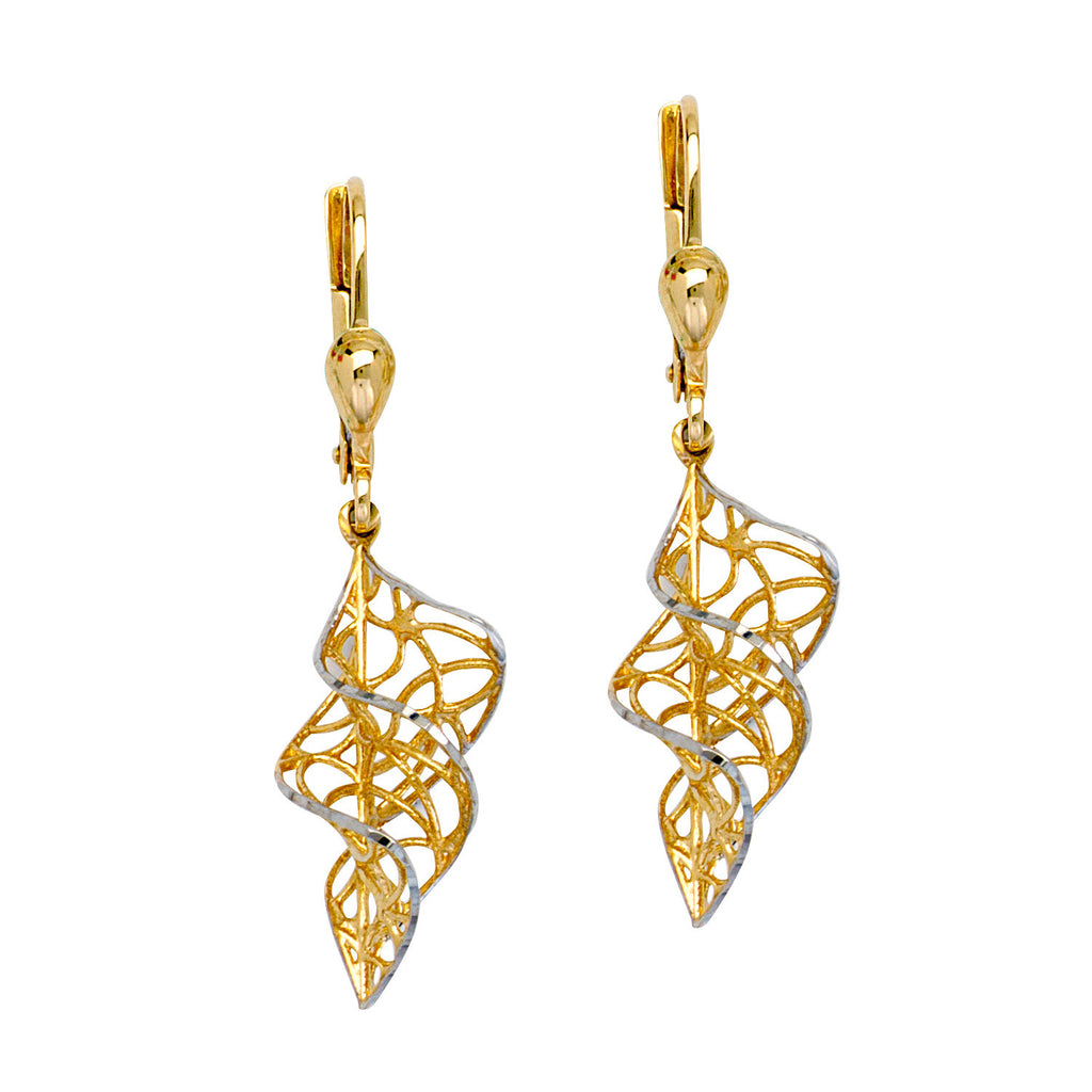 Two-tone White and Yellow 10k Gold Earrings Filigree Twirl