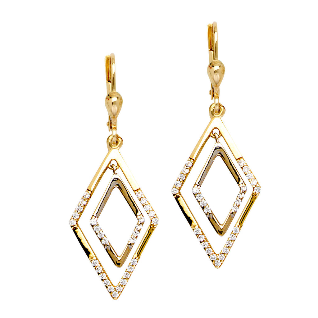 10k Two-tone White and Yellow Gold Earrings Double Diamond-Shape Dangle