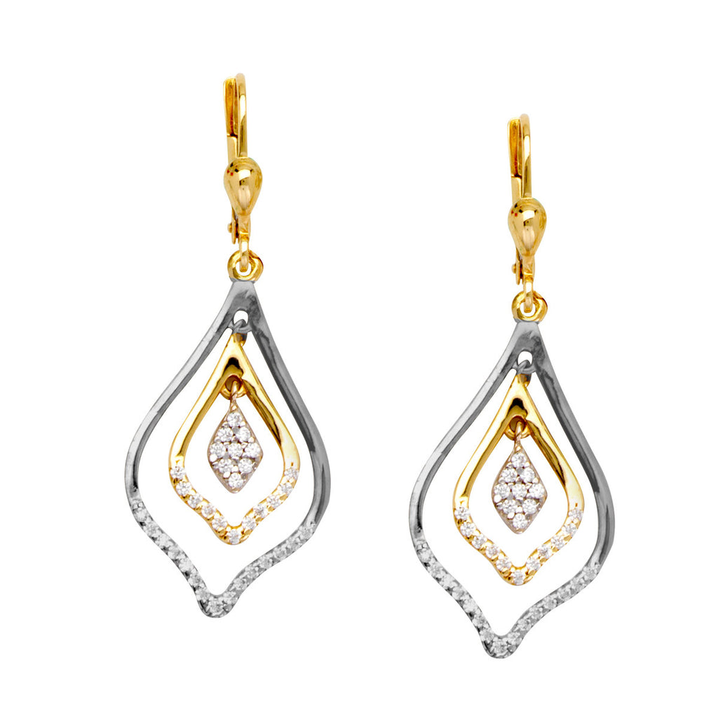 10k Two-tone White and Yellow Gold Earrings Triple Dangle