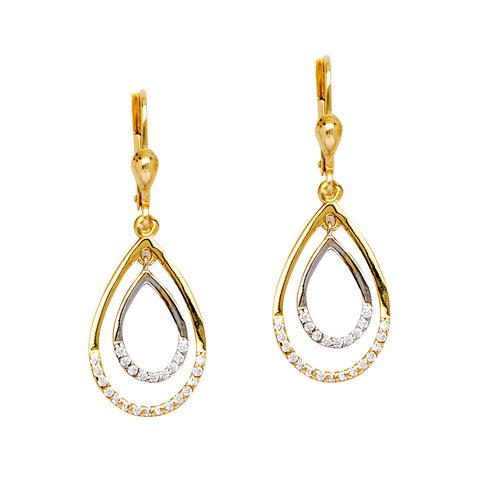 10k Two-tone White and Yellow Gold Earrings Pear Shape