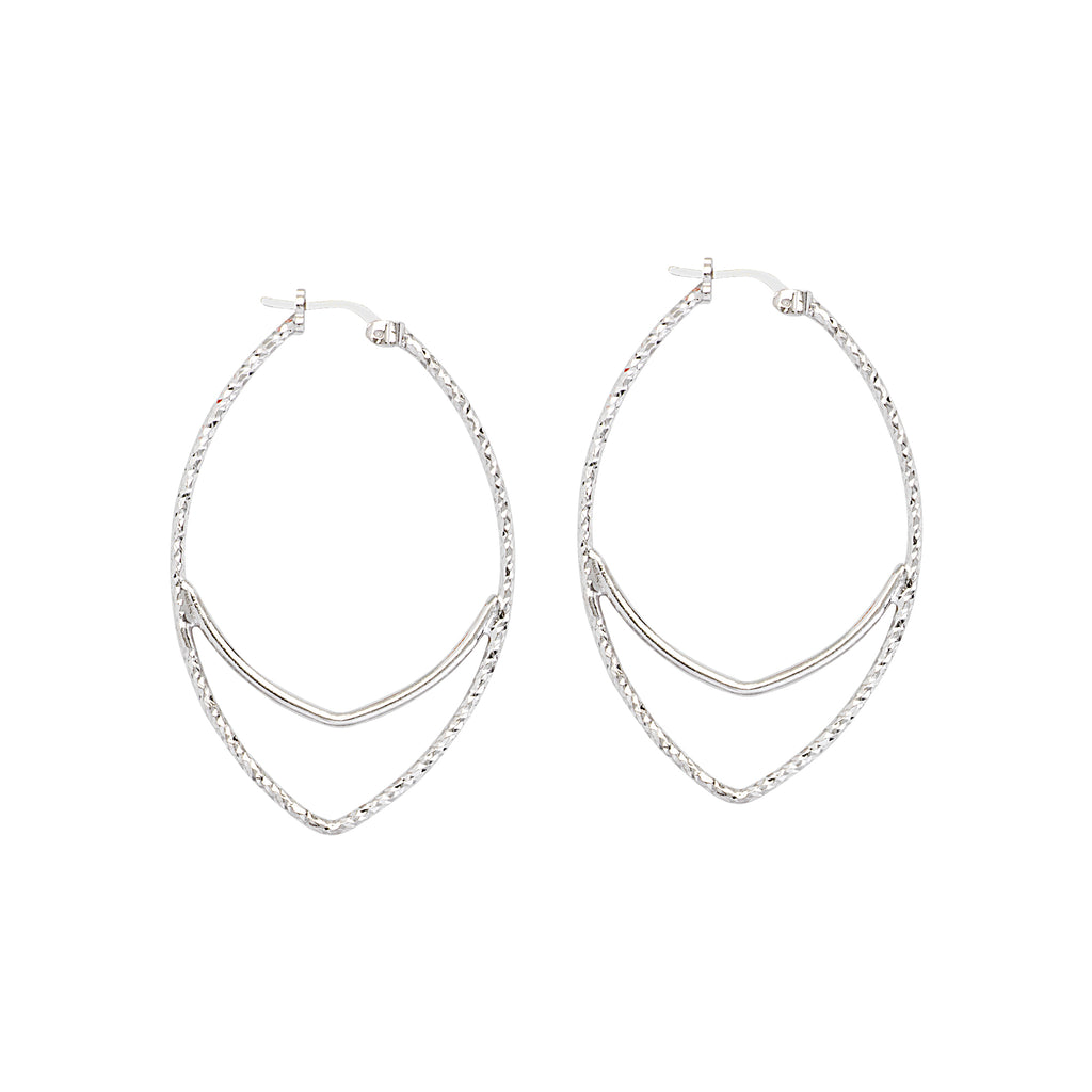 Diamond-cut Hoop Earrings Marquise with Polished Bar Rhodium on Sterling Silver