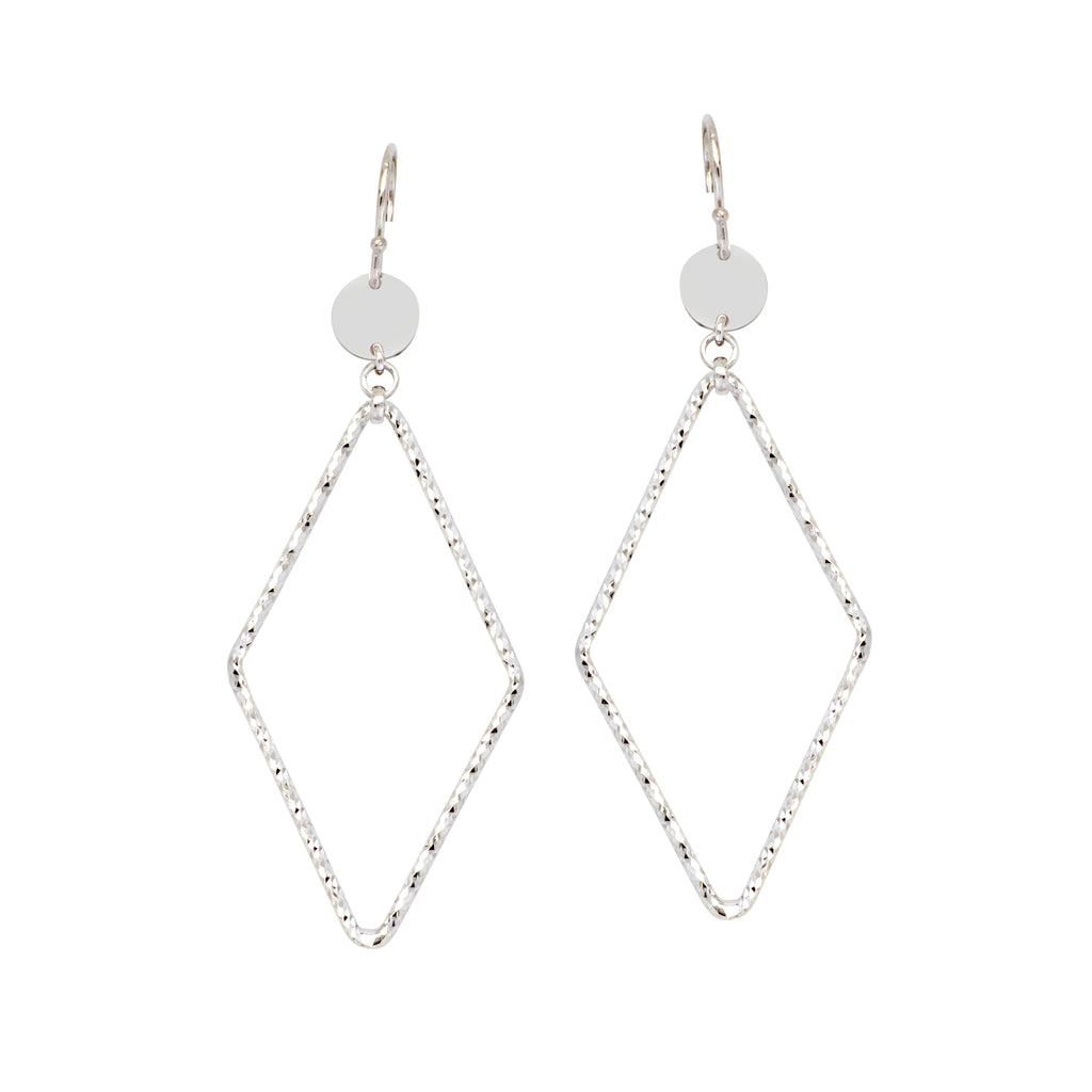 Diamond-cut Diamond Drop Earrings with Polished Circle Disk Rhodium on Sterling Silver