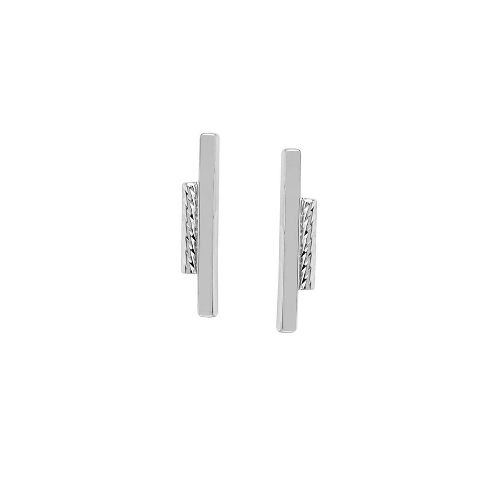 Ear Climber Earrings 2-Row Rope Geometric Bar Design Rhodium on Sterling Silver