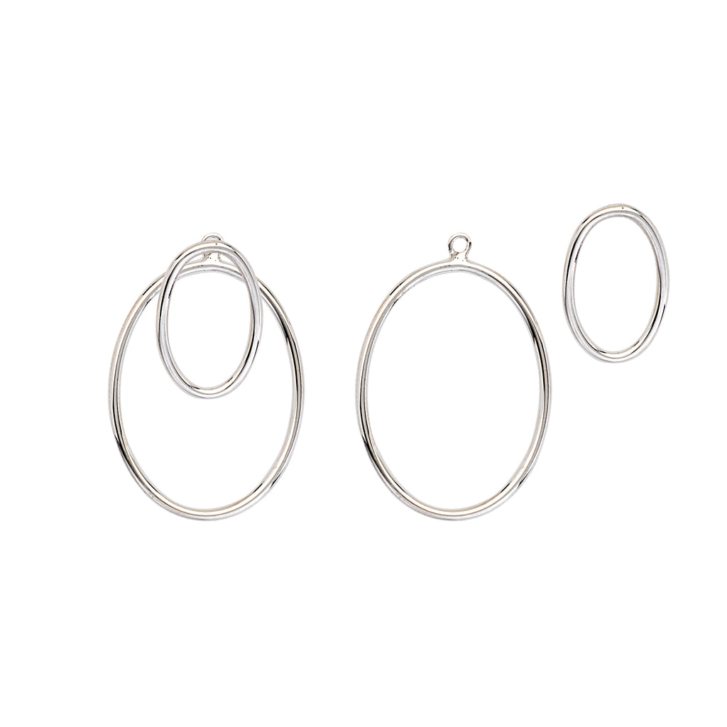 Double Open Oval Earrings Rhodium on Sterling Silver