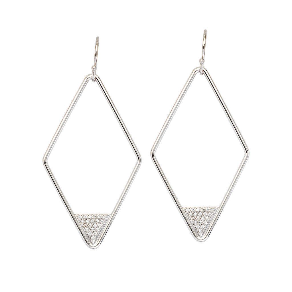 Diamond-shape Wire Earrings with Triangle Cubic Zirconia Accents Rhodium on Sterling Silver