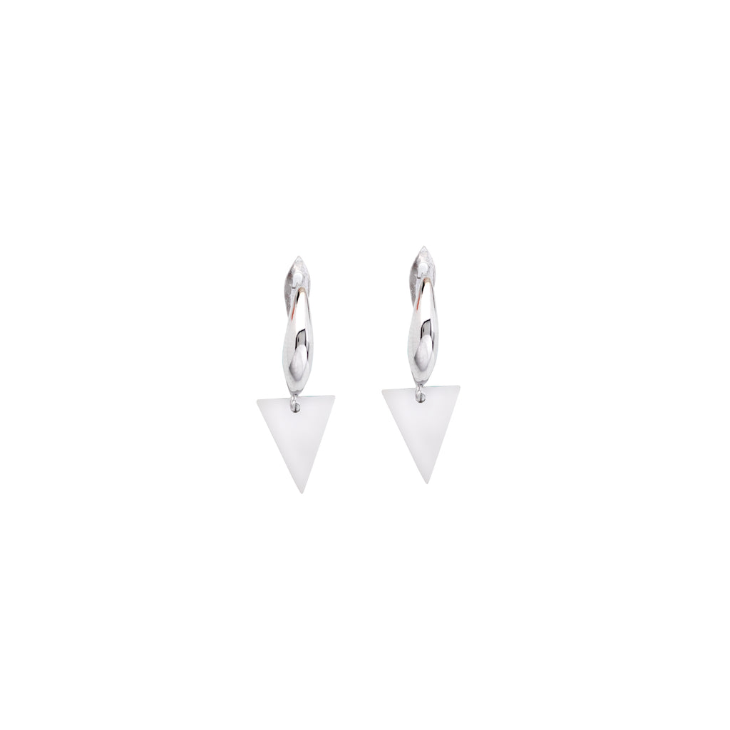 Dangle Triangle Earrings Polished Rhodium on Sterling Silver