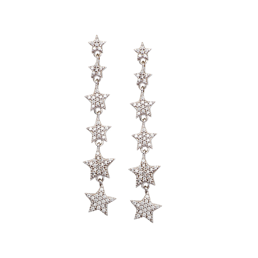 Star Dangle Earrings with Cubic Zirconia Accents Rhodium on Sterling Silver