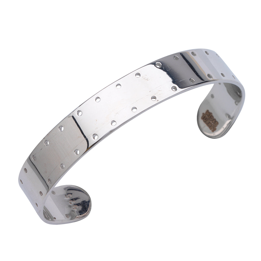 10mm Wide Cuff Bracelet with Perforated Rows Rhodium on Sterling Silver