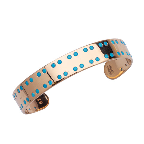 10mm Wide Cuff Bracelet Two Rows of Simulated Turquoise Rose Gold-plated Silver