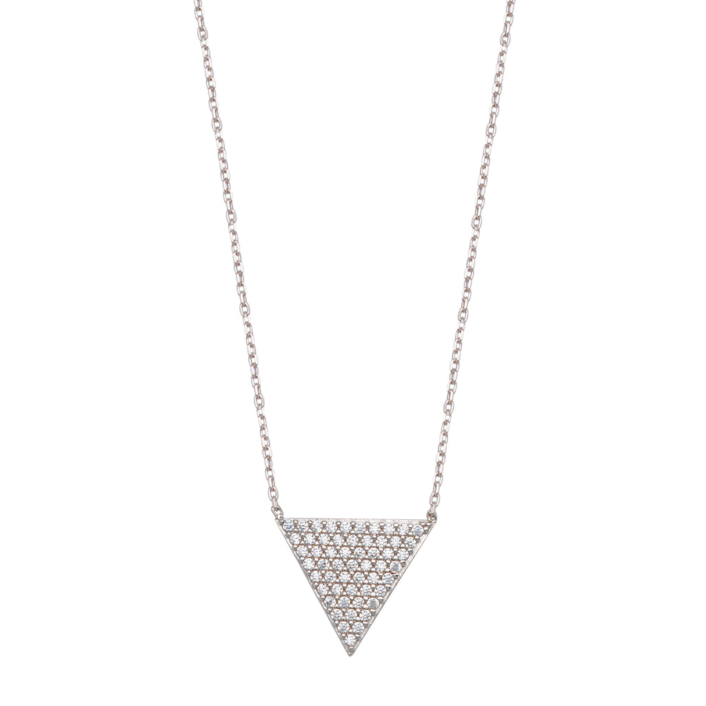 Triangle Necklace White Rhodium-plated Sterling Silver with Pave Cubic Zirconia