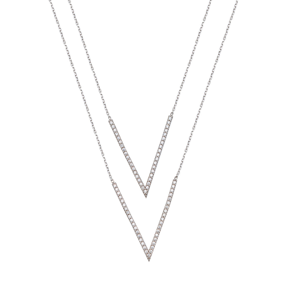 Layered Duos Double V Bar Necklace Rhodium Sterling Silver with Cubic Zirconia