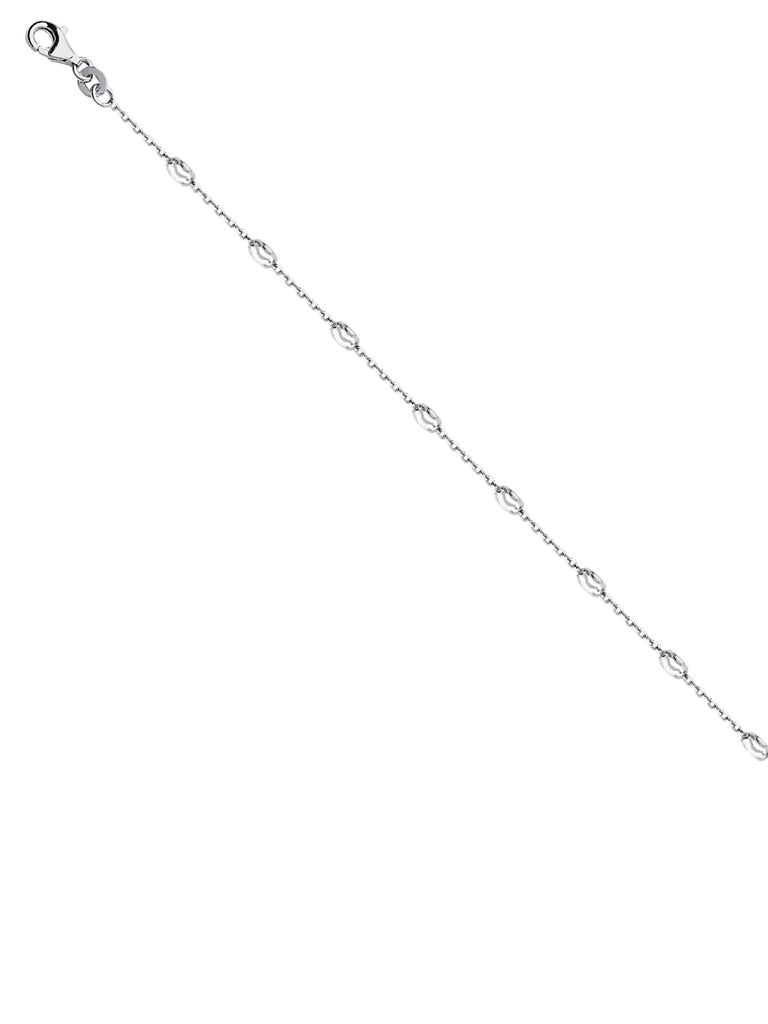 Sterling Silver Anklet Ankle Bracelet with Oval Moon Diamond-cut Stations