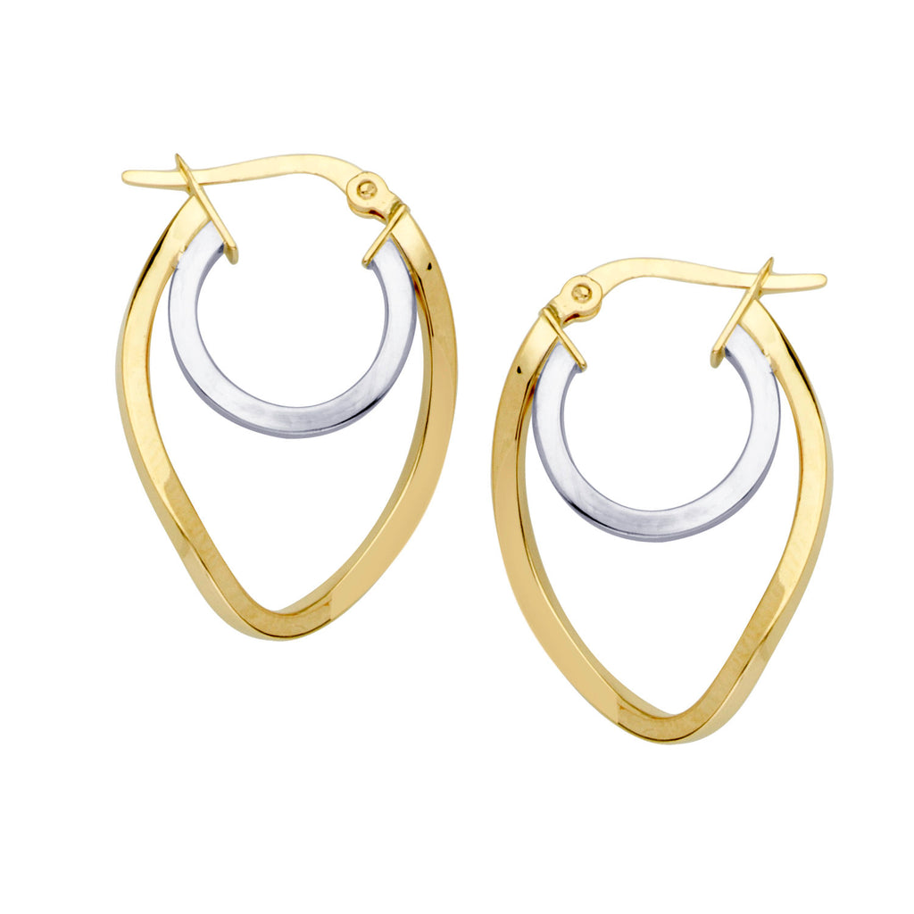 14k Two Tone Gold Double Hoop Earrings with Post 23x16mm