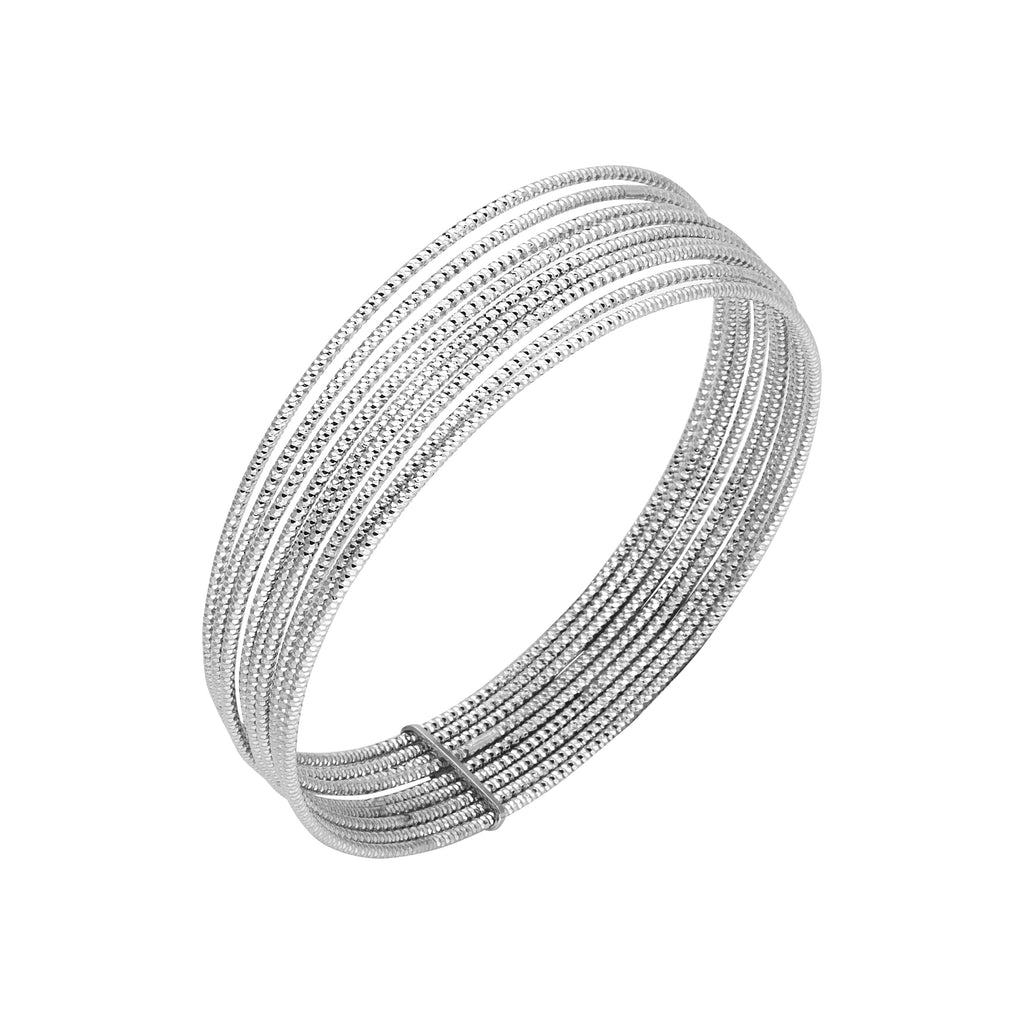 Stacking Textured Bangle Bracelet Set of 9 Attached Rhodium on Sterling Silver