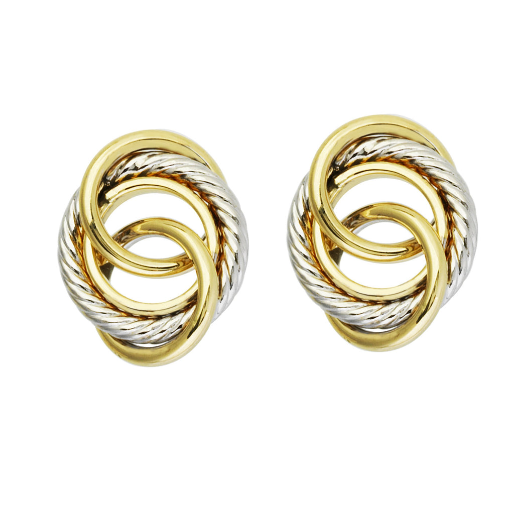 14k Two-tone Gold Interlocking Circle Love Knot Earrings 16x9mm Rope