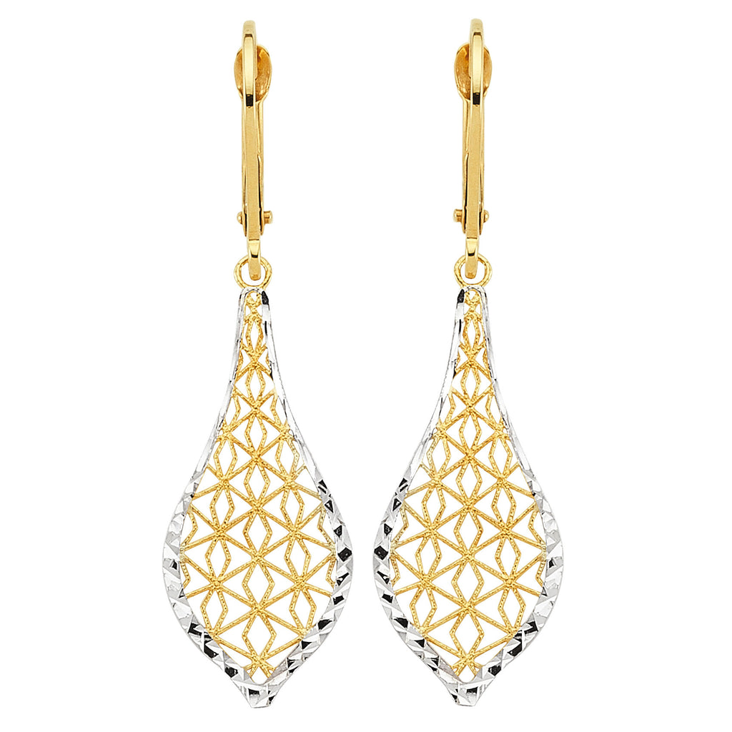 14k Two-tone White and Yellow Gold Filigree Teardrop Earrings