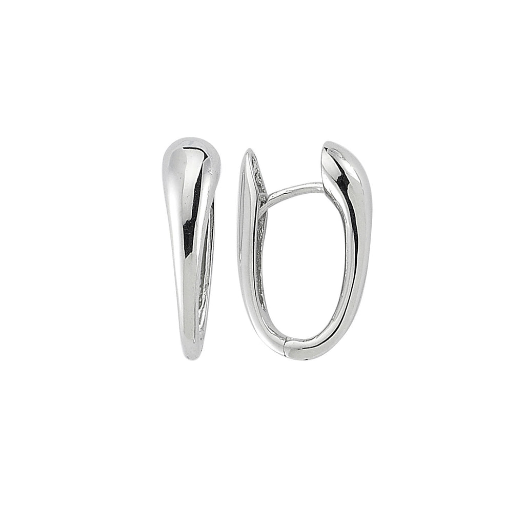 14k White Gold High Polish Graduated Huggie Earrings