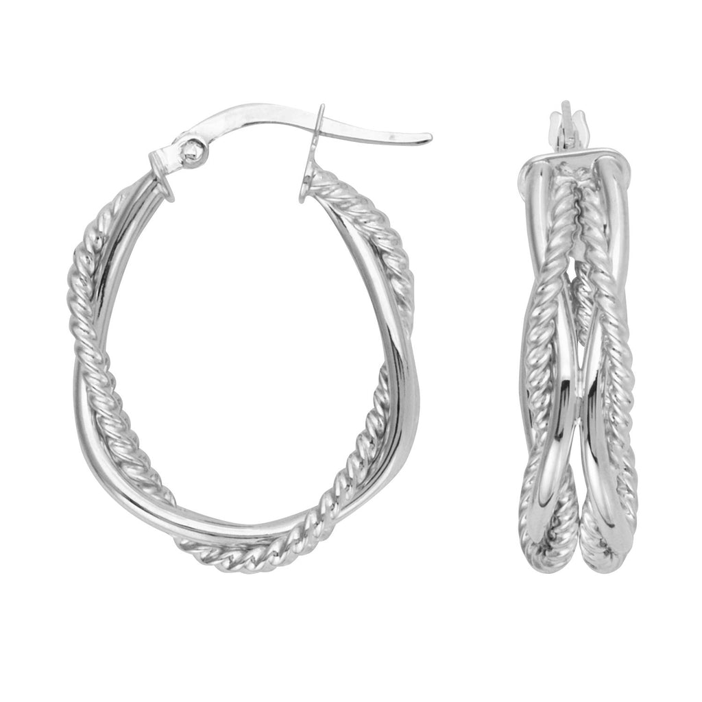 14k White Gold Hoop Earrings Braided Twist with Polished and Rope Tubes Oval