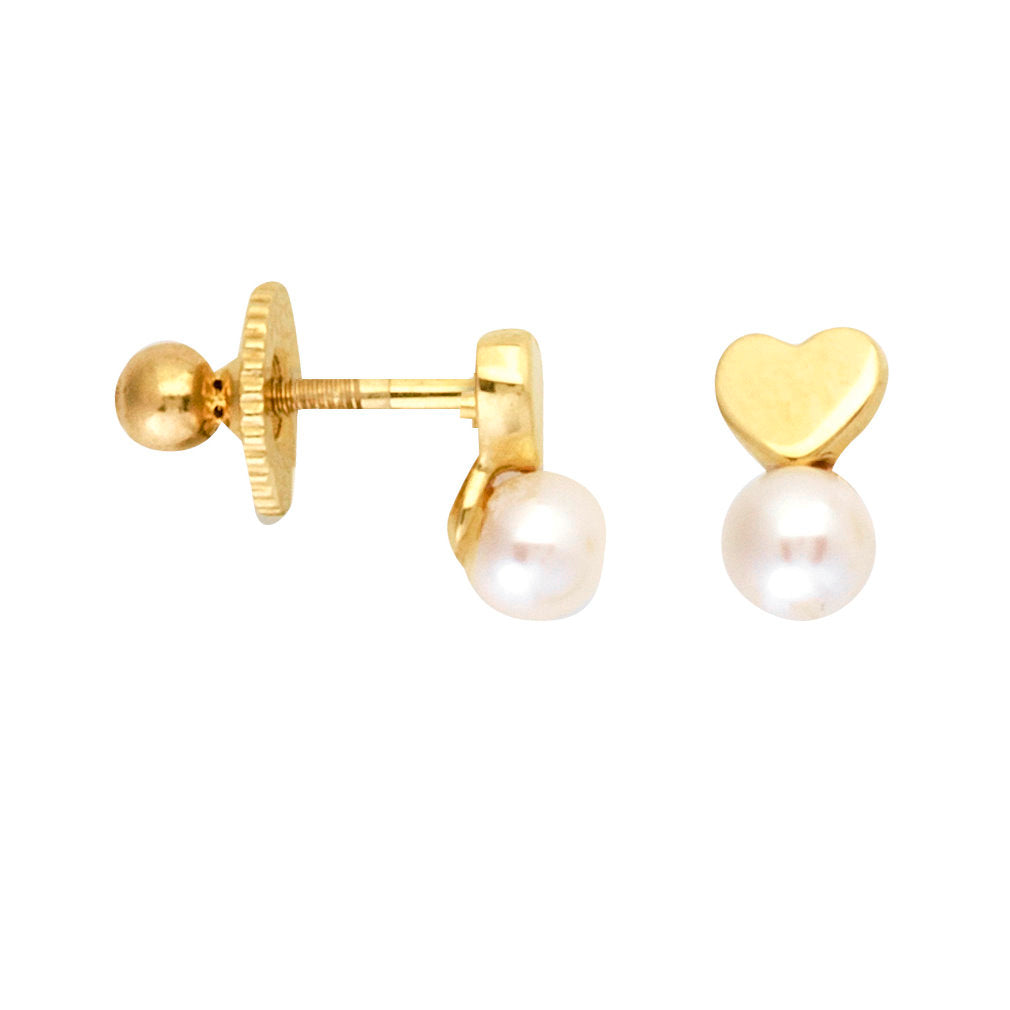 14k Yellow Gold Post Stud Earrings Heart with 4mm Pearl Drop