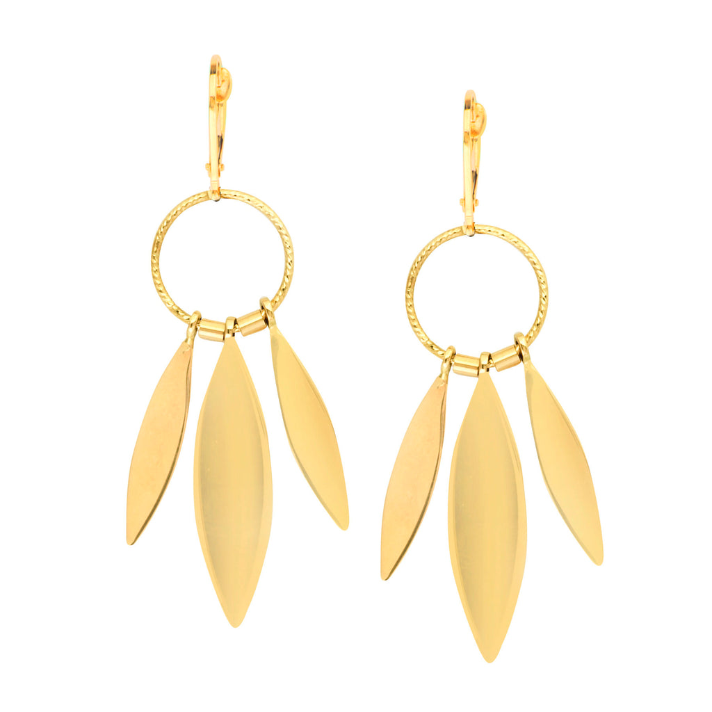 14k Yellow Gold Earrings with Circle and Marquise Drops