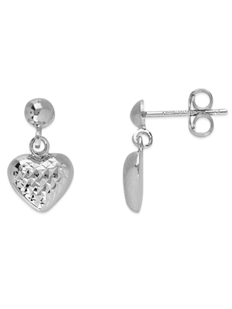 14k White Gold Diamond-cut Small Heart Shape Dangle Earrings with Ball Post