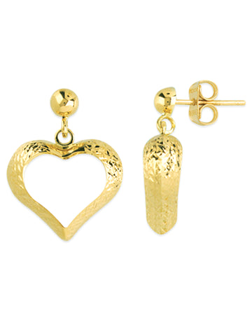 14k Yellow Gold Diamond-cut Open Heart Shape Dangle Earrings with Ball Post