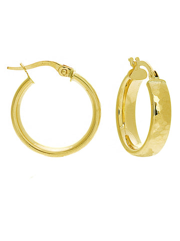 14k Yellow Gold Snap Wedding Band Style Hammmered Hoop Earrings