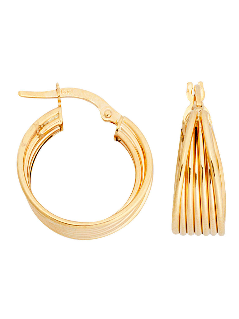 14k Yellow Gold Tapered Multiwire Hoop Earrings with Post and Polished Finish