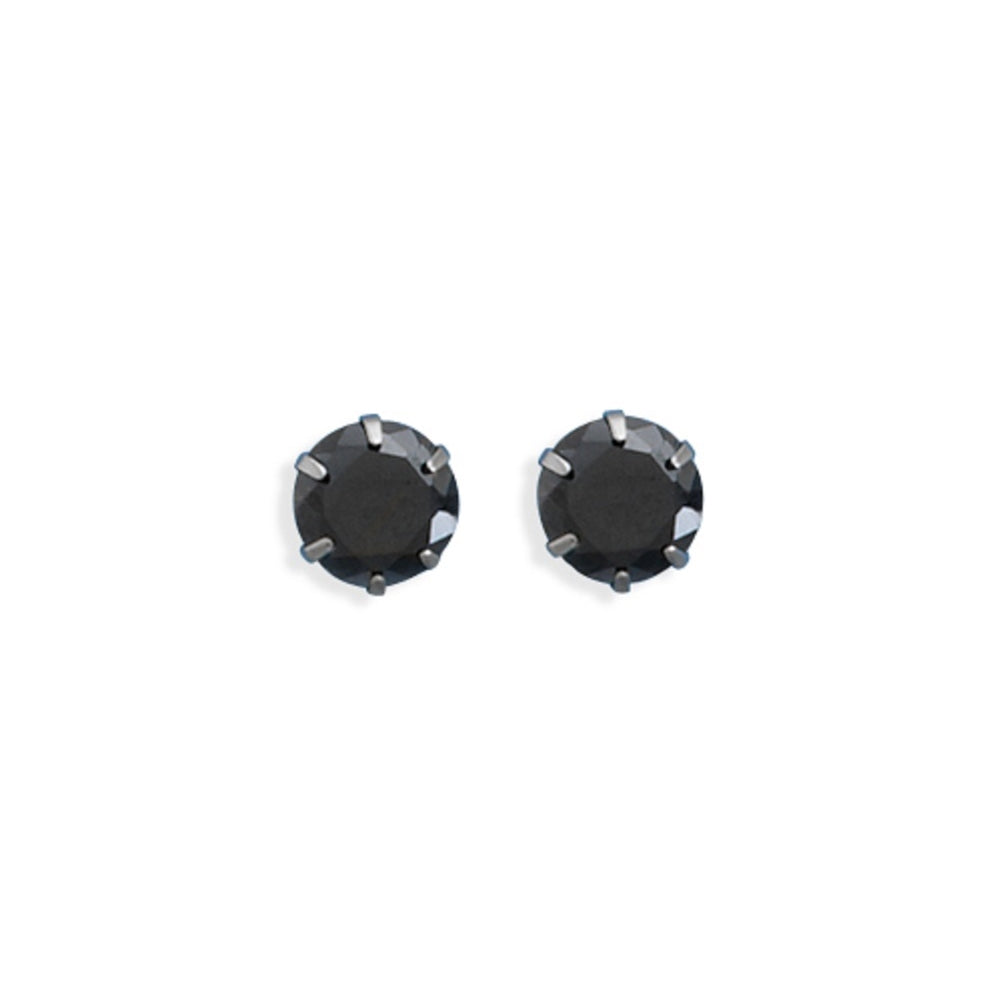 Black Stud Earrings 317L Surgical Stainless Steel 7mm Black Cubic Zirconia