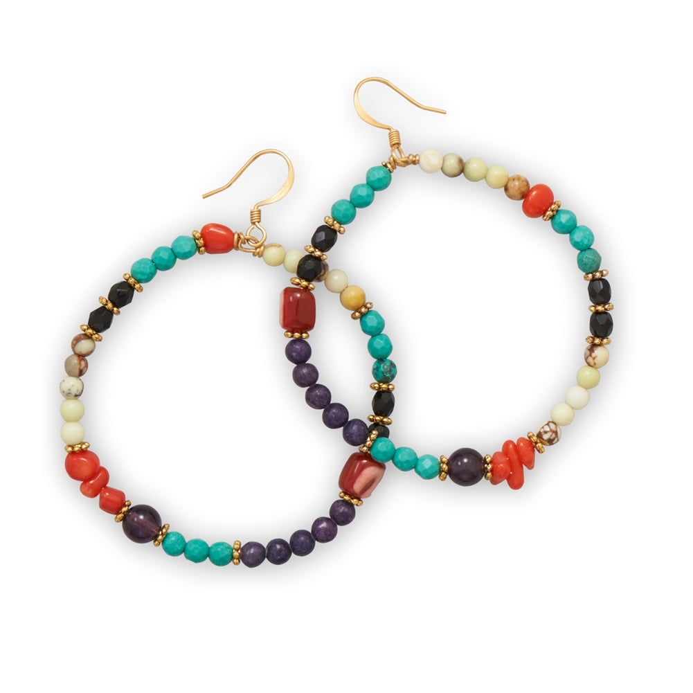 Hoop Dangle Earrings with Multiple Types and Color Stones Gold-plated