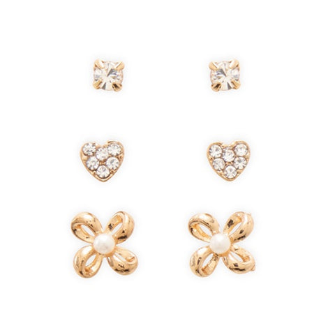 Set of Three Stud Earrings Crystal imitation Pearl Hearts and Bows