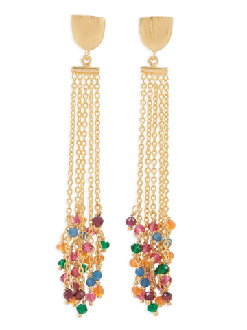 Multiple Chain Dangle Earrings with Multicolor Bead Drops