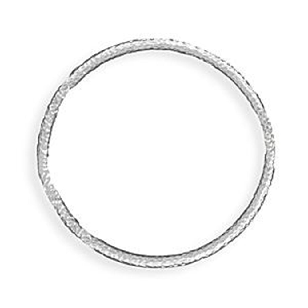 Wildfire Fashion Round 3.5mm Hammered Design Bangle Bracelet - Silver-tone