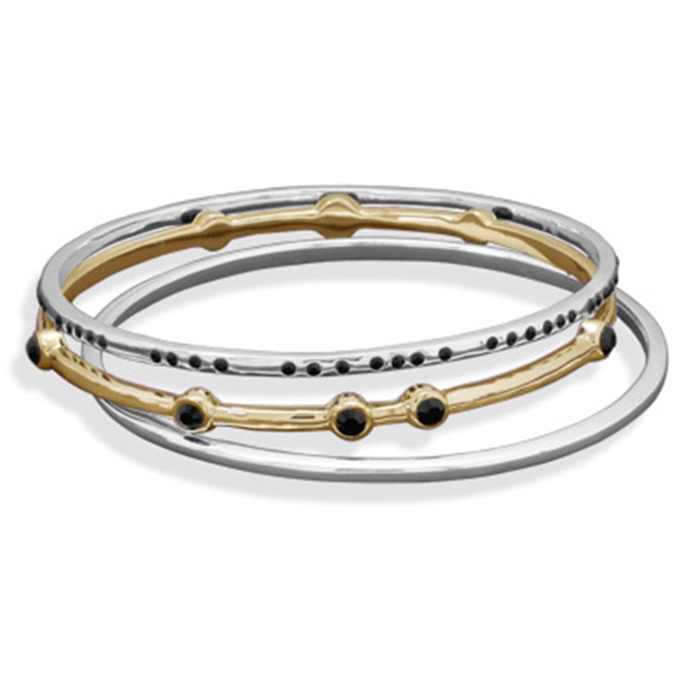 AzureBella Jewelry Set of Three Bangle Bracelets Silvertone and Goldtone with Black Accents