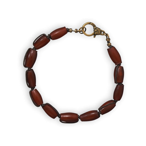 Wildfire Fashion Men's Brown Bracelet Brass and Red Horn Beads