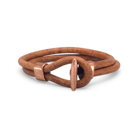 Wildfire Fashion Men's Brown Double Leather Bracelet with Copper Clasp and Accent