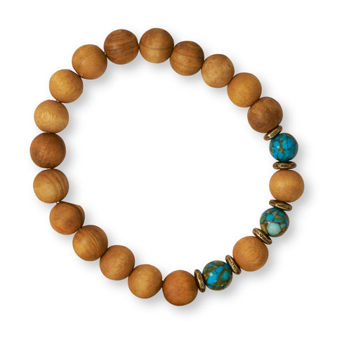 Wildfire Fashion Mosaic Stone and Wood Bead Stretch Bracelet
