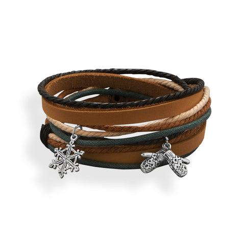 Five Strand Fashion Wrap Bracelet Brown and Black Leather
