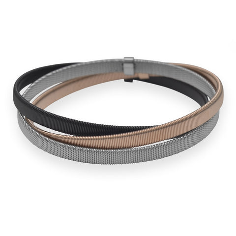 Wildfire Fashion Set of Three Stacked Bangle Bracelet Black Rose Gold-Tone and Stainless Steel